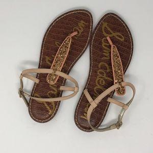 Sam Edelman Gigi Gold Sparkle T-strap Sandals 7